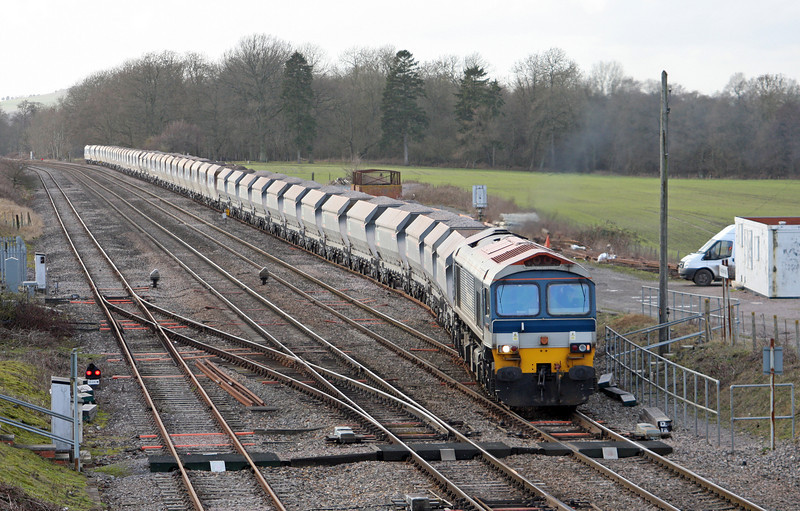 59102, 13.30 Whatley Quarry-Dagenham Dock, departs Woodborough loops, near Pewsey, Wiltshire, 3-2-11.