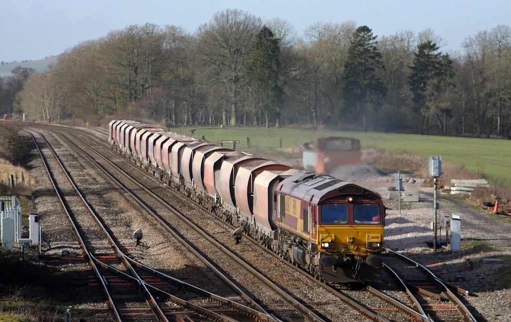 66016, 10.37 Whatley Quarry-London St Pancras, Woodborough, near Pewsey, Wiltshire, 3-2-11.