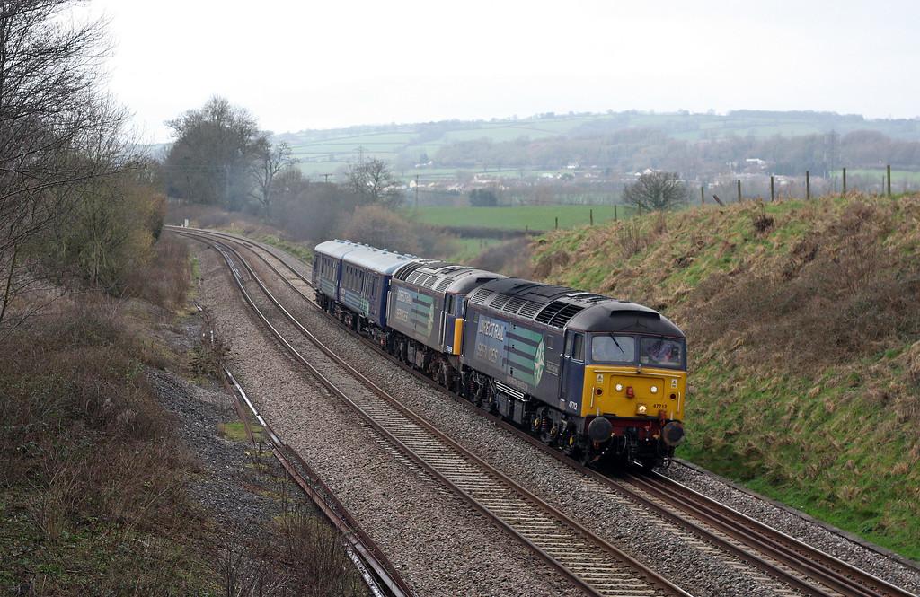 47712/57009, 09.52 Plymouth-Crewe Coal Sidings, Whiteball, 22-2-11.