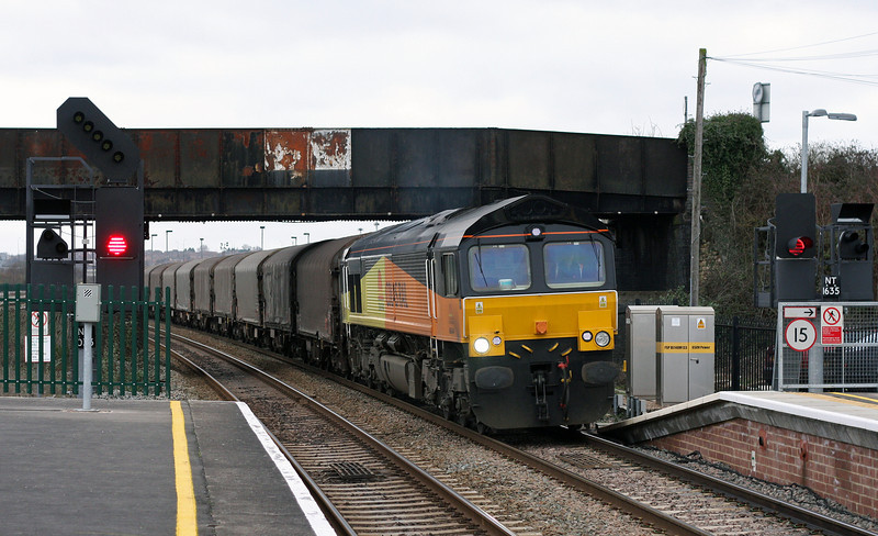 66844, 15.46 Llanwern-Dollands Moor, Severn Tunnel Junction, 24-2-11.