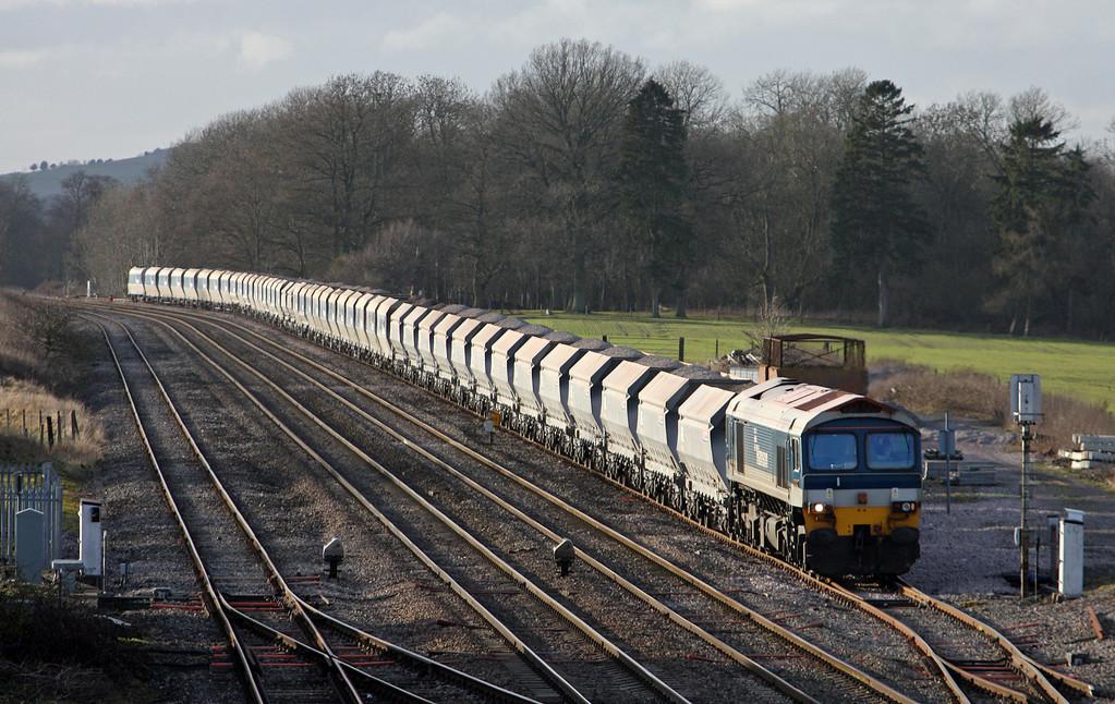 59102, 13.30 Whatley Quarry-Dagenham Dock, Woodborough loops, near Pewsey, Wiltshire, 3-2-11.