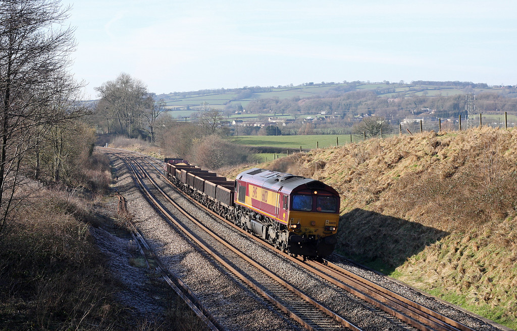 66021, 11.45 Totnes-Westbury Yard, Whiteball, 30-1-11, running early.