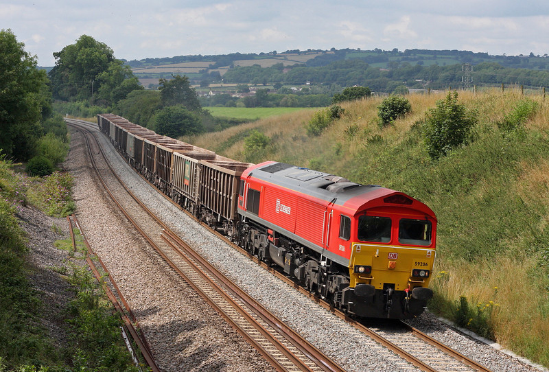59206, 13.41 Exeter Riverside Yard-Whatley Quarry, Whiteball, 21-7-11.