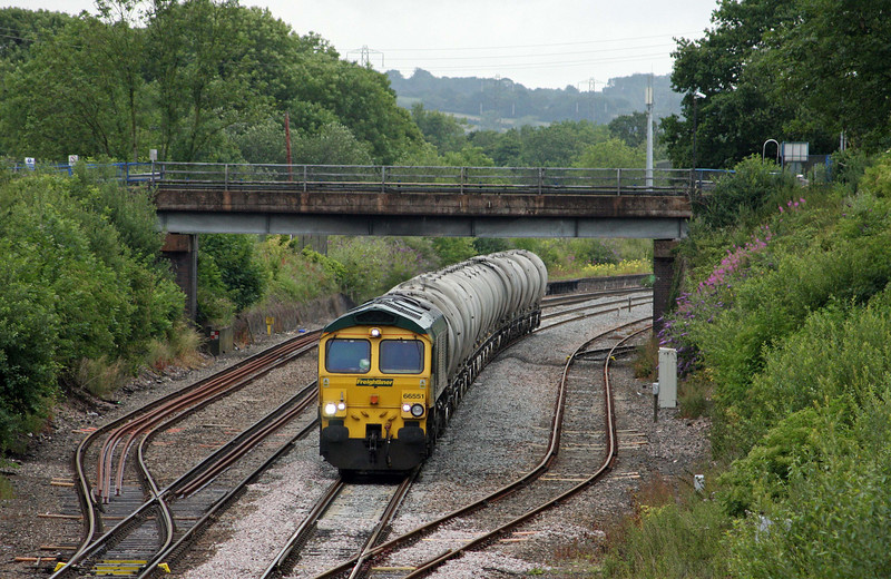 66551, 06.53 Westbury Lafarge-Moorswater-Lafarge, Willand, near Tiverton, 8-7-11.