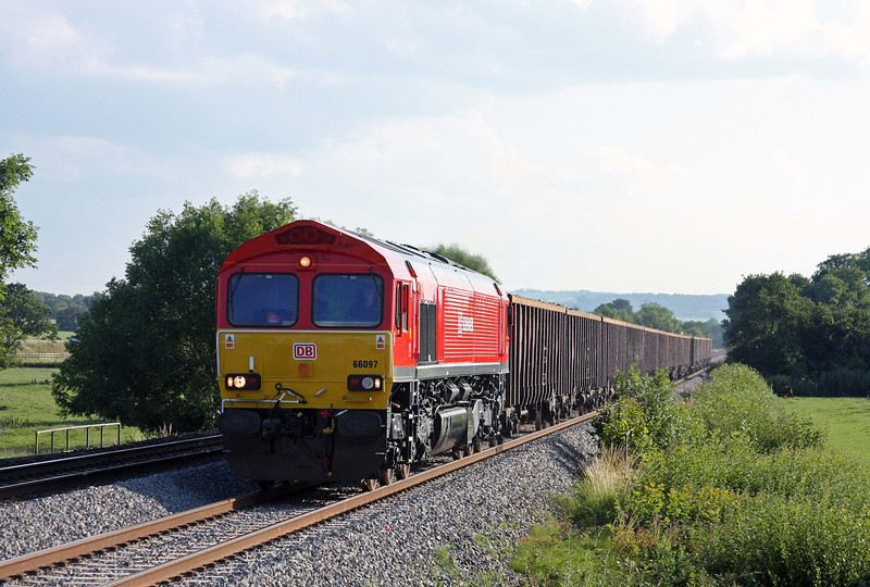 66097, 17.18 Exeter Alphington Road-Cardiff Tidal, Pugham Crossing, near Burlescombe, 13-7-11, very late.