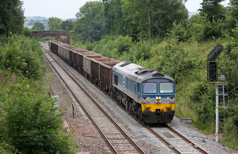 59004, 13.41 Exeter Riverside Yard-Whatley Quarry, slowing to enter Tiverton loops at Willand, near Tiverton, 12-7-11.