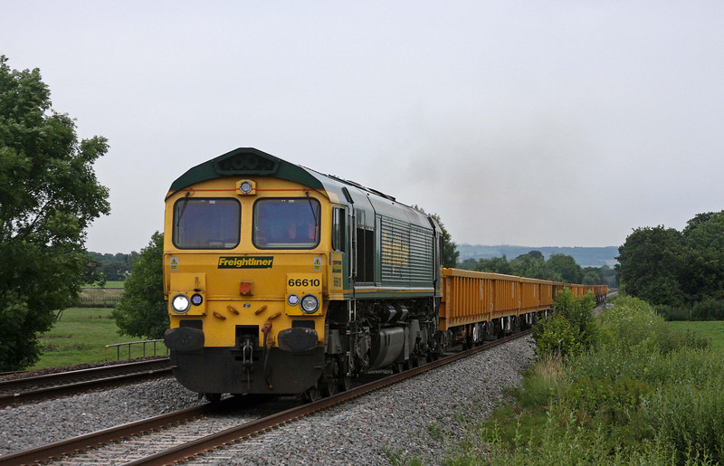 66610, 12.07 Newton Abbot Hackney Yard-Westbury, Pugham Crossing, near Burlescombe, 12-7-11.