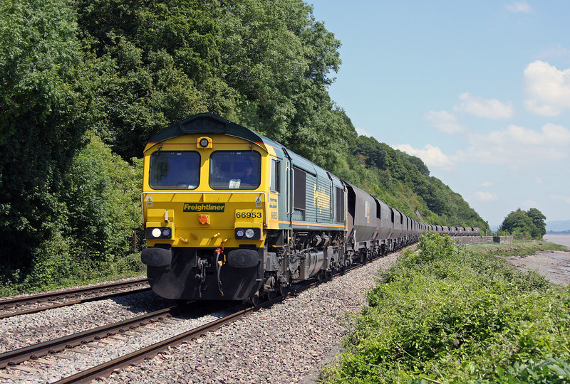 66953, 10.50 Portbury-Rugeley Power Station, Gatcombe, 3-6-11, diverted, problems in Severn Tunnel.