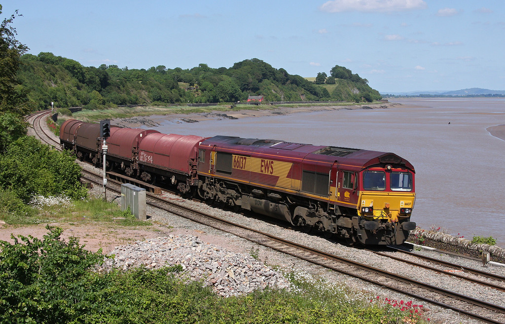 66137, 14.45 Swindon Steel Terminal-Llanwern, Purton, near Lydney, 3-6-11, diverted, problems in Severn Tunnel.