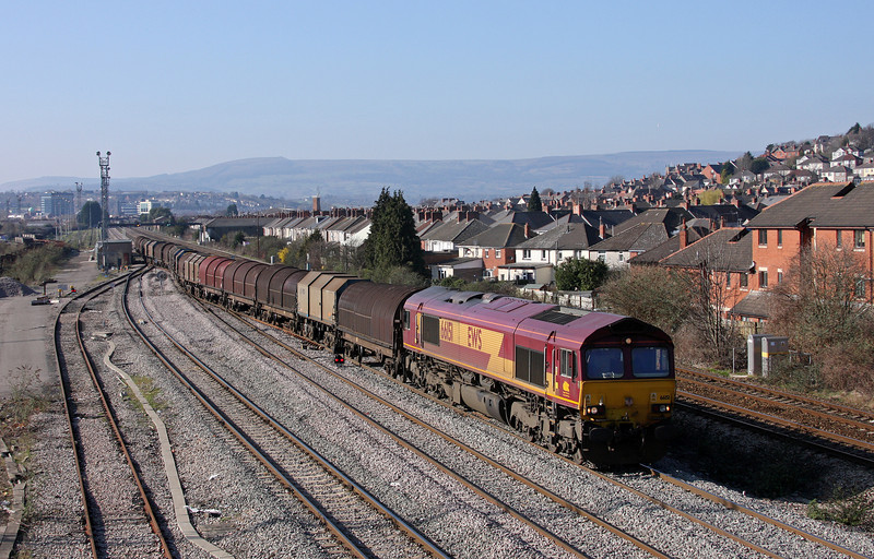 66151, 14.00 Newport Birdport-Newport East Usk Yard-Llanwern departs East Usk Yard, 4-3-11.