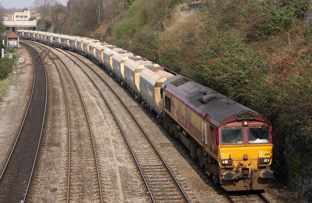66111, 13.30 Avonmouth-West Drayton, Dr Day's Bridge Junction, Bristol, 25-3-11.