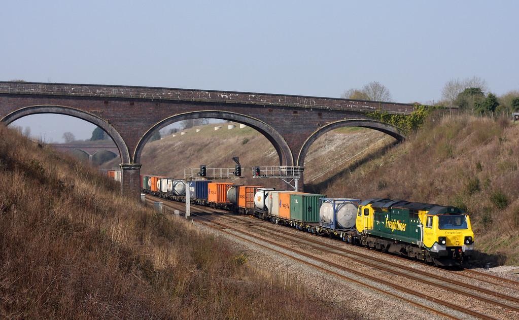 70003, 09.58 Cardiff Wentloog-Southampton Milbrook, enters Chipping Sodbury loop, 25-3-11.