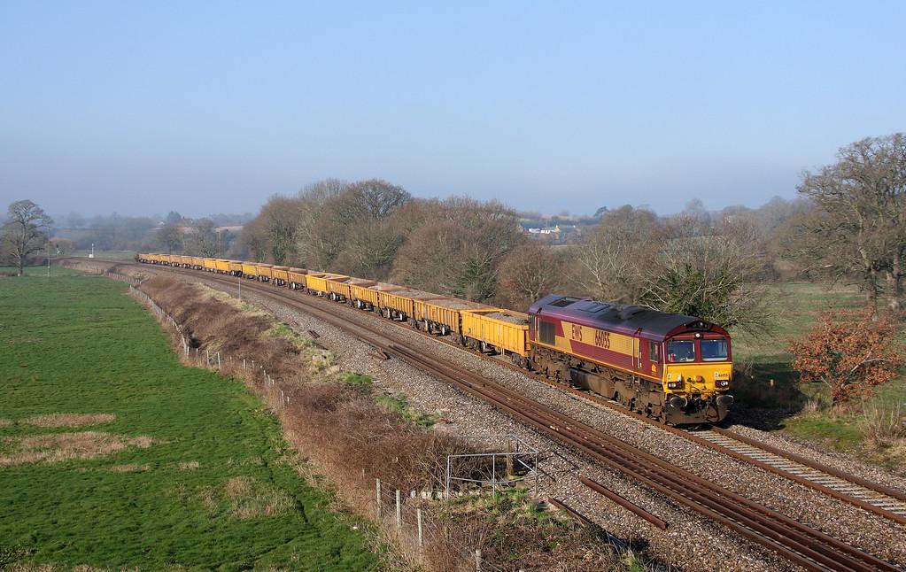 66055, 08.56 Exeter Riverside Yard-Westbury Yard, Ellerhayes, Silverton, 3-3-11.
