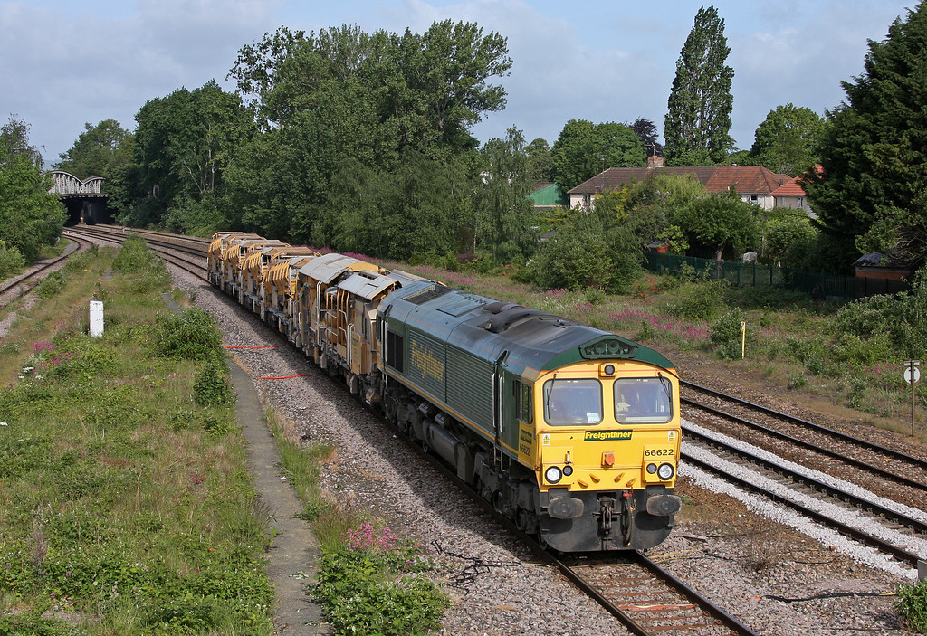 66622, 08.20 Taunton Fairwater Yard-Westbury Virtual Quarry, Taunton 40 Steps Bridge, 24-5-11.