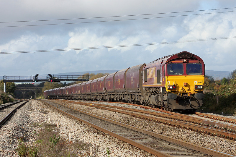 66145, 08.29 Aberthaw Power Station-Portbury, departing Pilning loop, 1-11-11.
