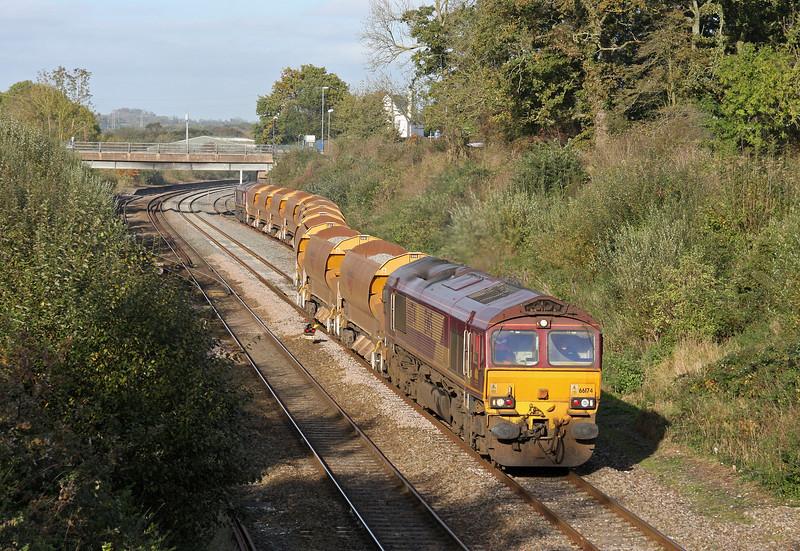 66174/66130, 12.15 Westbury-Exeter St David's, departing Tiverton Loops, Willand, near Tiverton, 30-10-11.