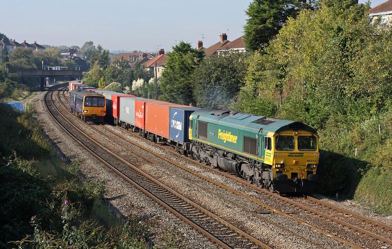66533, 11.00 Bristol Freightliner Terminal-Tilbury, Parson Street, Bristol, 30-9-11, and 143620, 09.37 Taunton-Bristol Parkway.