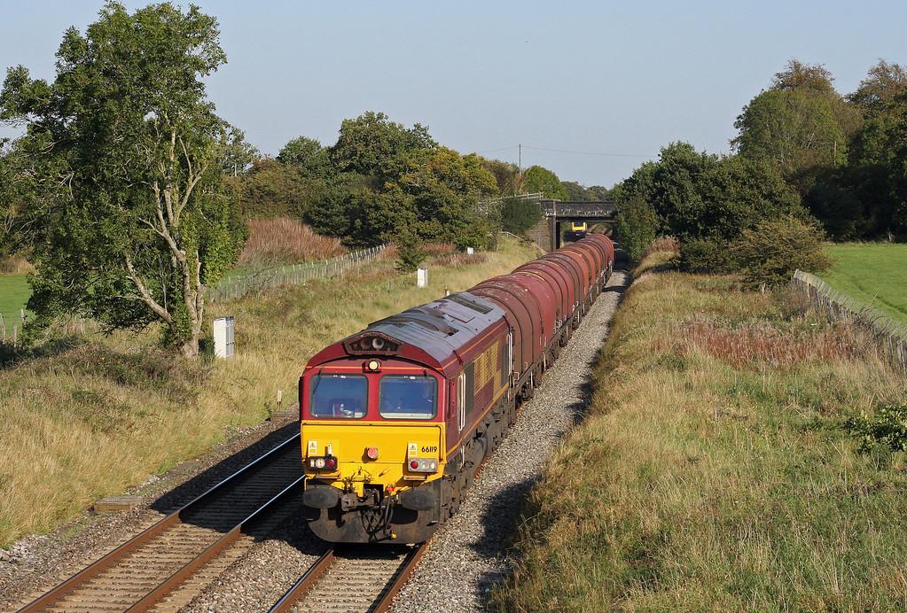 66119,  15.45 Swindon Steel Terminal-Llanwern, Acton Turville, near Badminton, 30-9-11.