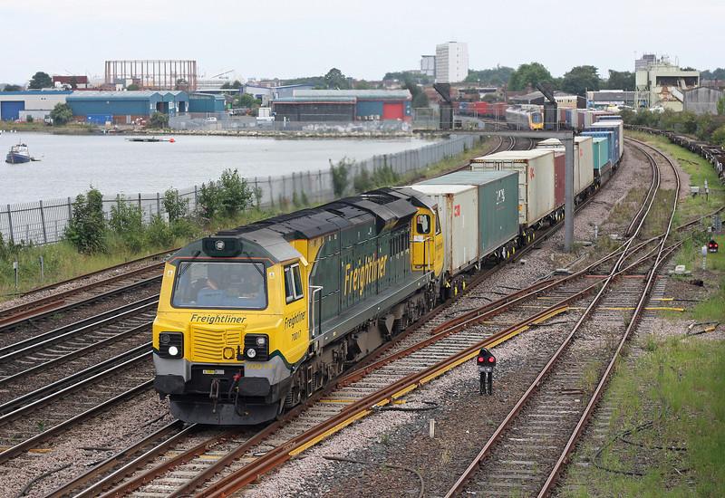 70017, 16.57 Southampton Maritime-Trafford Park, St Denys, Southampton, 23-8-12.