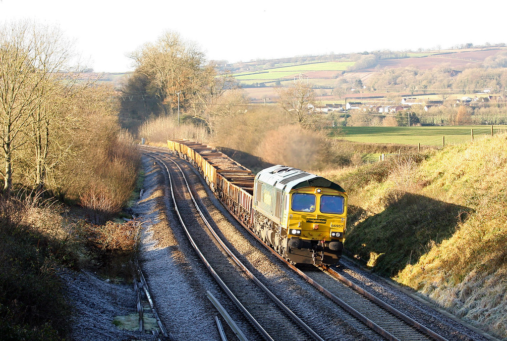 66957, 00.02 Truro Penwithers Junction-Westbury Yard, Whiteball, 10-12-12. Seven hours late.