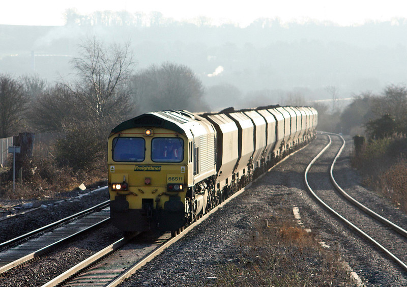66511, 08.25 Portbury-Rugeley Power Station, Pilning, 2-2-12.