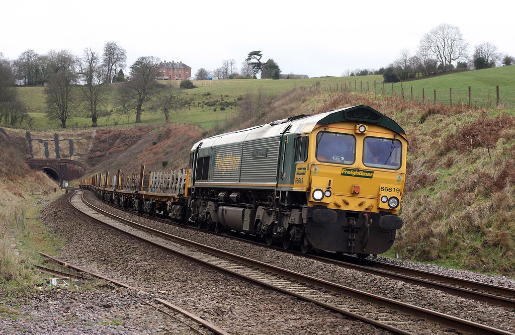 66619, 14.00 Newton Abbot Hackney Yard-Taunton Fairwater Yard, Marlands, near Wellington, 20-2-12.