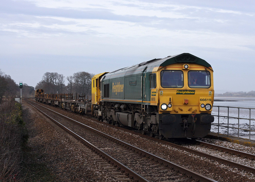 66619, 13.08 Westbury Yard-Newton Abbot Hackney Yard, Powderham, near Starcross, 14-2-12.