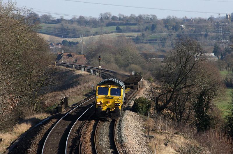 66504, 10.57 Southampton Millbrook-Cardiff Wentloog, Coalpit Heath, near Bristol, 2-2-12.
