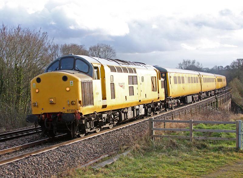 97301, 14.25 Newport-Tyseley radio survey train, Bullo Pill, near Newnham, Gloucestershire, 23-1-12.