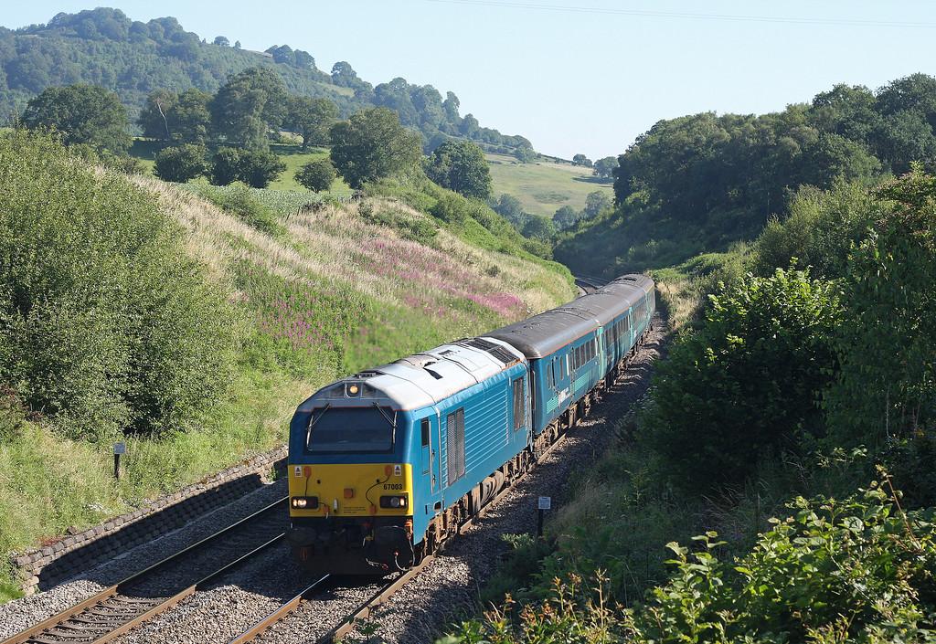 67003, 05.32 Holyhead-Cardiff Central, Llanvihangel Crucorney, near Abergavenny, 23-7-12.