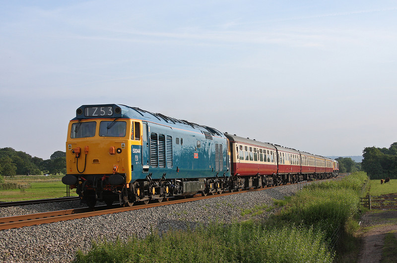 50044/66720, 18.15 Paignton-Cardiff Central, GBRF private charter, Pugham Crossing, near Burlescombe, 21-7-12.