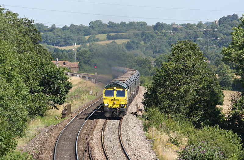 66957, 11.15 Rugeley Power Station-Bristol Stoke Gifford Yard, Coalpit Heath, near Bristol, 24-7-12.