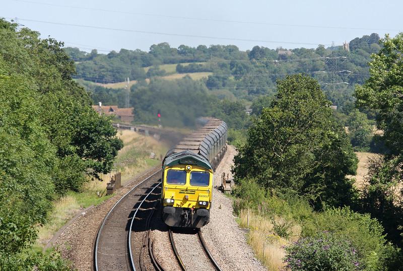 66957, 11.15 Rugeley Power Station-Bristol Stoke Gifford Yard, Coalpit Heath, near Bristol, 24-7-12.
