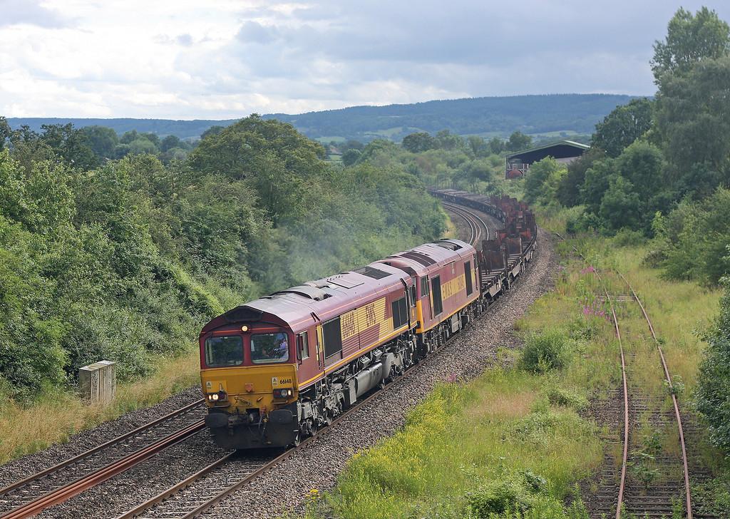 66148/60049 (dead), 14.55 Margam-Scunthorpe, Grange Court, near Westbury-on-Severn, 11-7-12.