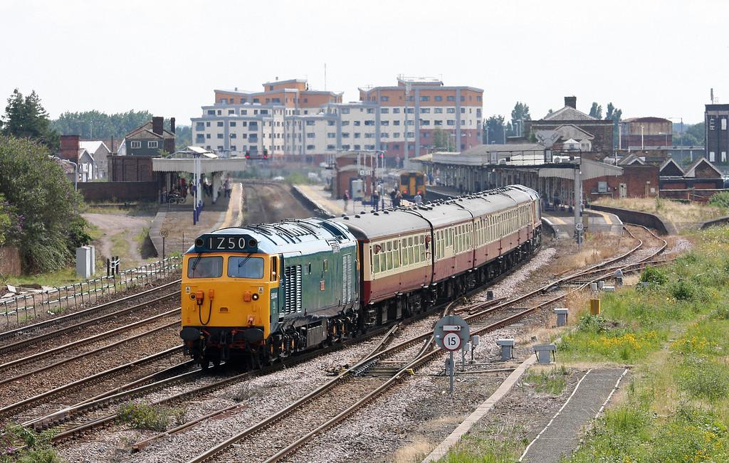 50044/66720, 09.15 Cardiff Central-Paignton, GBRF private charter, Taunton 40 Steps Bridge, 21-7-12.