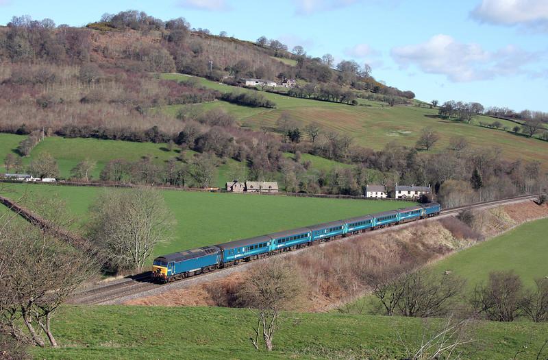 57313/57316, 05.32 Holyhead-Cardiff Central, Llanvihangel Crucorney, near Abergavenny, 19-3-12.