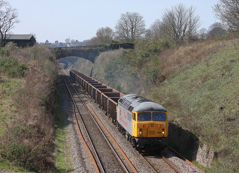 56312, delayed 10.30 Cardiff Tidal-Shipley, Sedbury Lane, Chepstow, 29-3-12. 56302 failed.