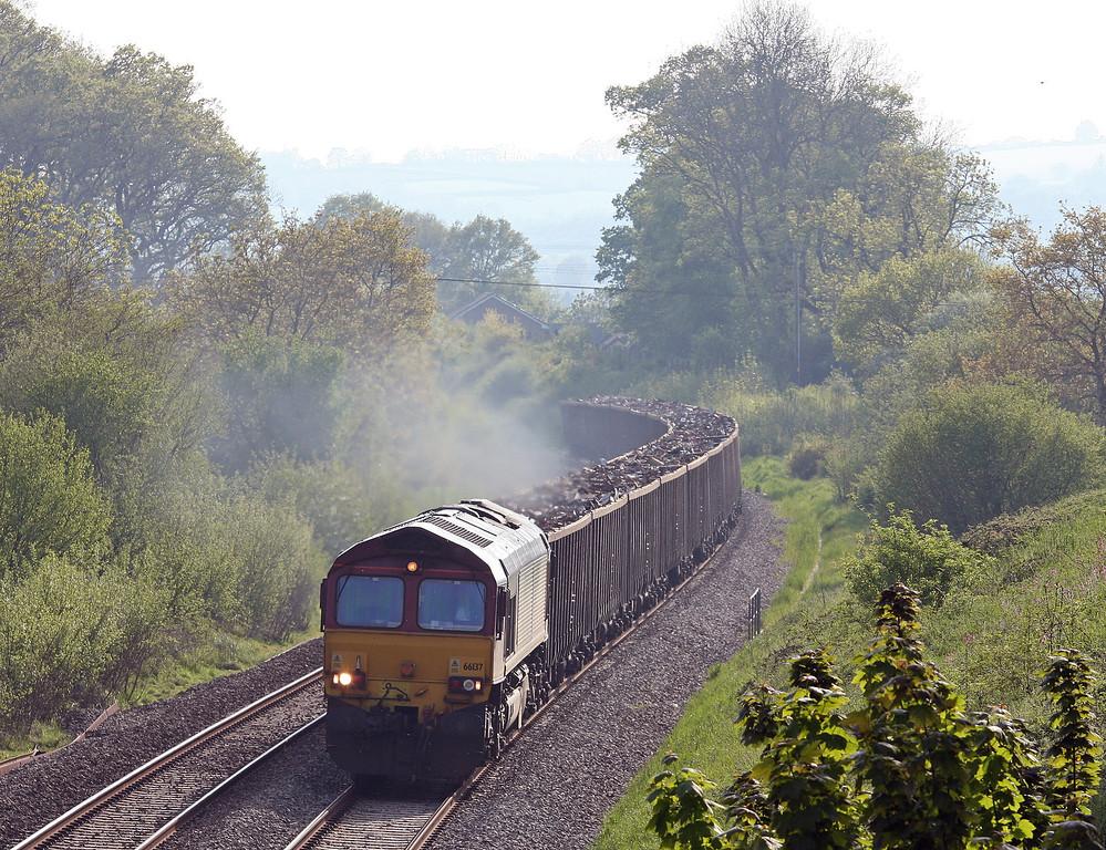 66137, 17.18 Exeter Alphington Road-Cardiff Tidal, Whiteball, 21-5-12.
