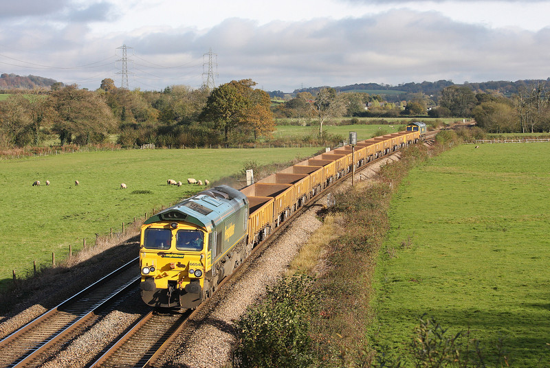 66548/66547, top'n'tail 09.09 Westbury-Truro Penwithers Junction, Tiverton Parkway, 4-11-12.