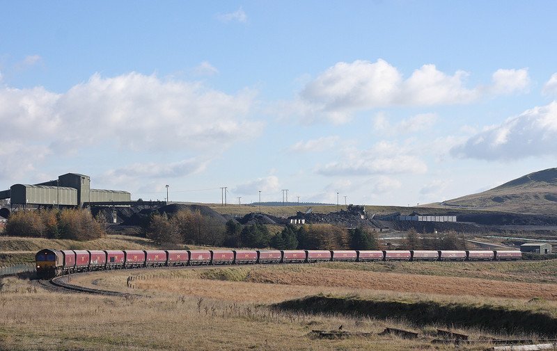 66138, 08.30 Aberthaw Power Station-Cwmbargoed Opencast Colliery, arrives at Cwmbargoed, 5-11-12.