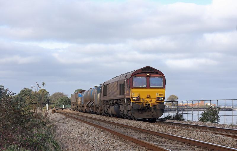 66011/66094, 08.45 Westbury-St Blazey, Cockwood, near Starcross, 7-11-12.