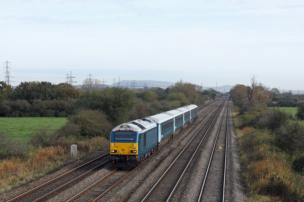 67002, 05.33 Holyhead-Cardiff Central, Coedkernow, near Newport, 30-10-12.