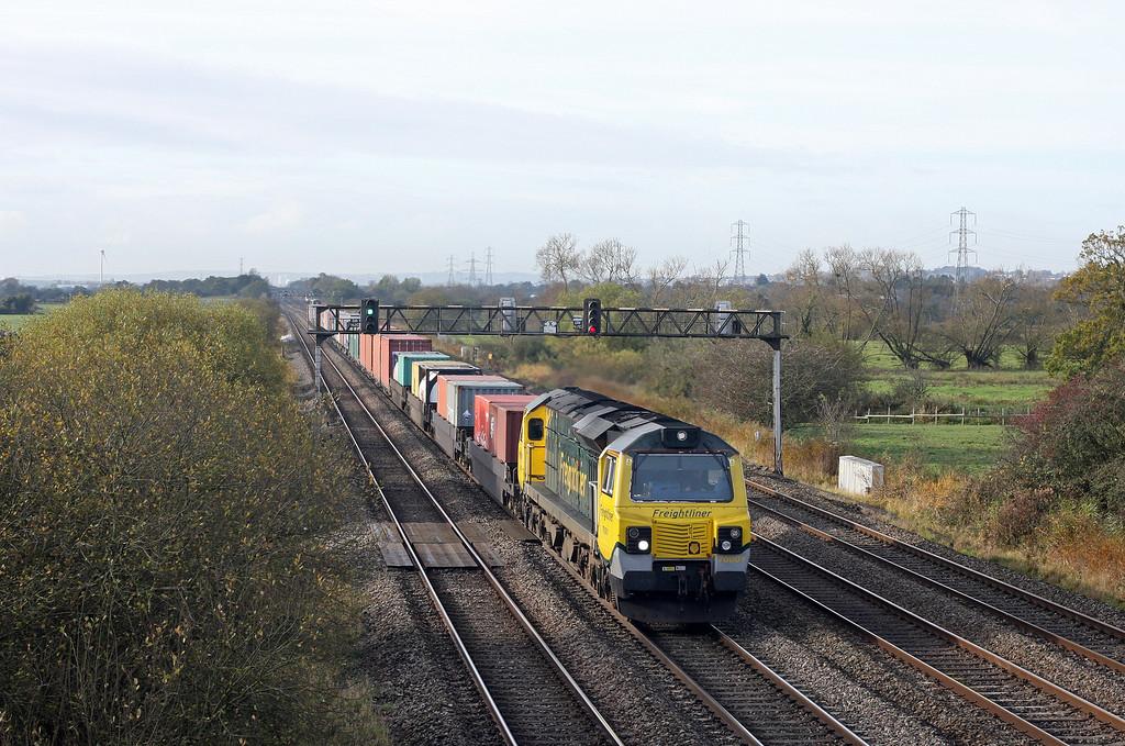 70001, 09.58 Cardiff Wentloog-Southampton, Coedkernow, near Newport, 30-10-12.