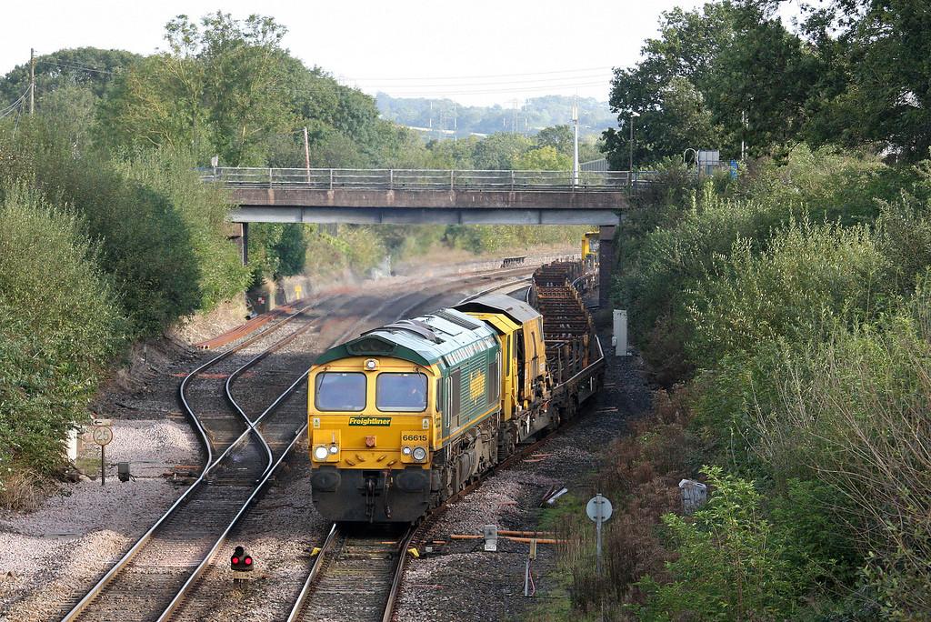 66615, 08.20 Westbury Yard-Newton Abbot Hackney Yard, departs Tiverton Loops, Willand, near Tiverton, 2-10-12.