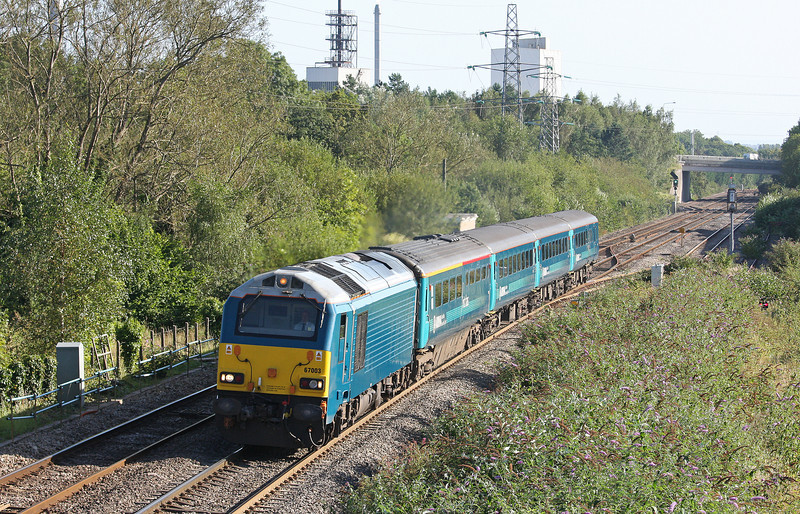 67003, 16.15 Cardiff Central-Holyhead, Panteg, near Pontypool, 5-9-12.