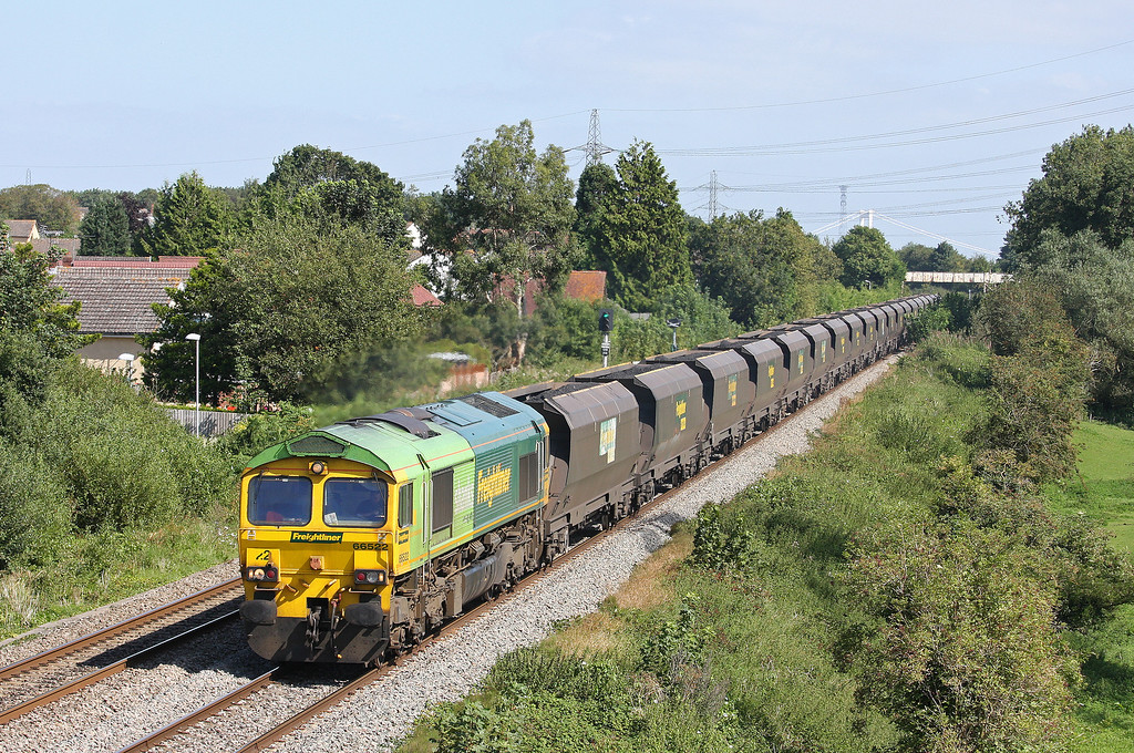 66522, 10.50 Portbury-Rugeley Power Station, Portskewett, near Caldicot, 5-9-12. Diverted via Gloucester because of Severn Tunnel problems.