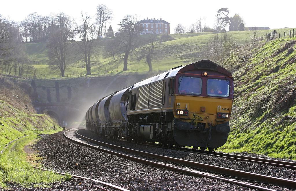 66140, 11.50 St Blazey-Newport Alexandra Dock Junction, via lay over at Exeter Riverside Yard, Marlands, near Wellington, 19-4-13.