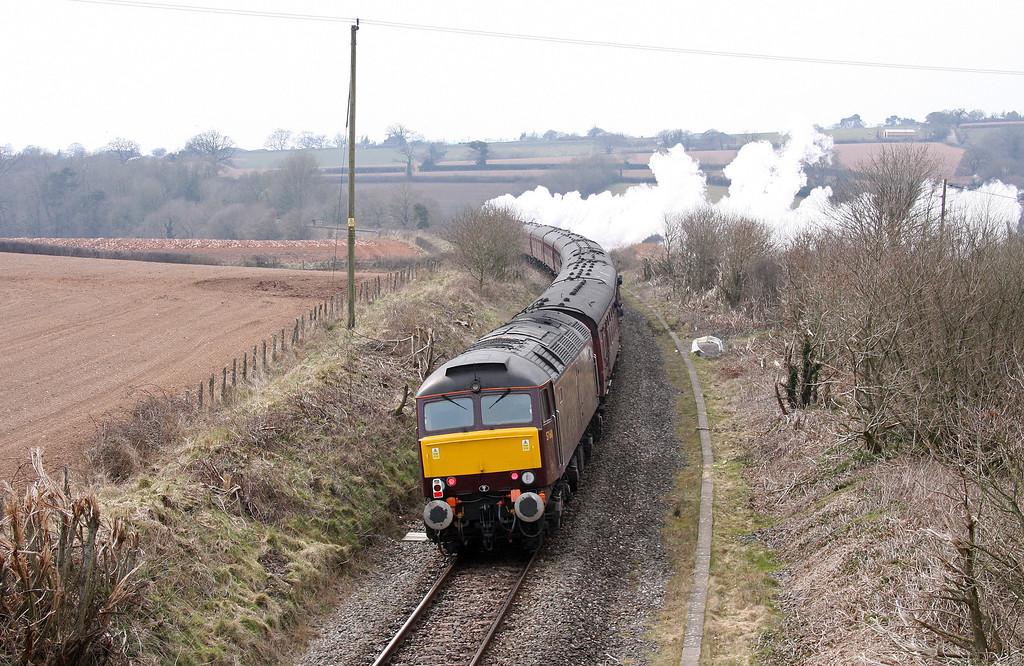 34067/47501, top'n'tail 09.36 London Waterloo-Exeter St David's, Feniton, near Honiton, 7-4-13.