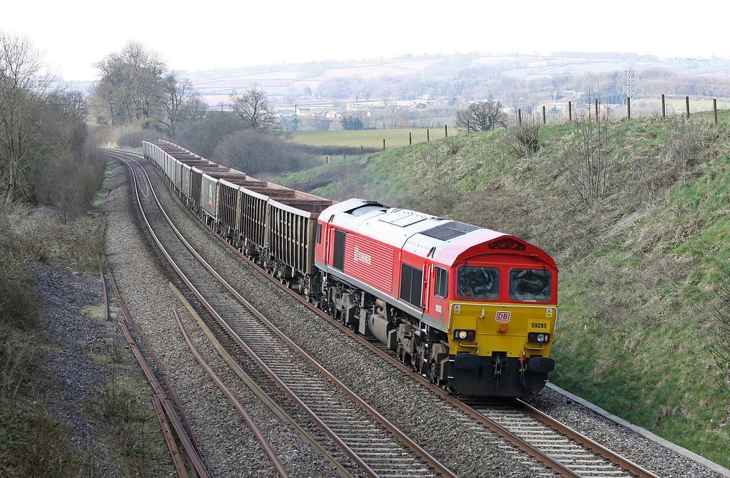 59205, 12.03 Exeter Riverside Yard-Westbury Yard, Whiteball, 3-4-13.
