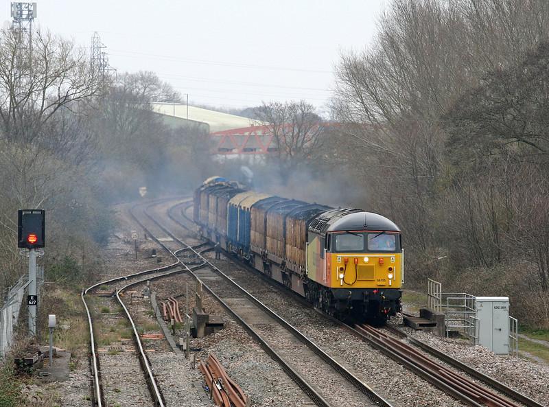 56105, 08.05 Chirk Kronospan-Teigngrace, departs down relief, Norton Fitzwarren, near Taunton, 10-4-13.